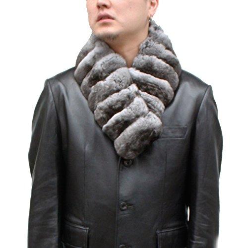 男女兼用日本製毛皮マフラーチンチラ ストレートファーマフラー 3403cm(ナチュラル)