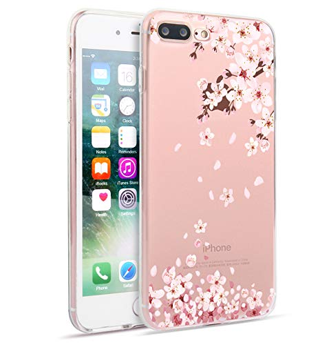 Flowers Phone Case Compatible with iPhone 8 Plus iPhone 7 Plus Watercolor Floral Pattern Clear Soft TPU Cover Slim Flexible Cute Apple Phone Cases for Women Girls-White Pink Peach Blossom[5.5