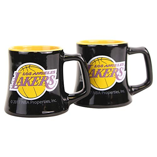 (NBA Full Color Sclupted Mug 2oz Shot Glass 2-Pack (Los Angeles Lakers))