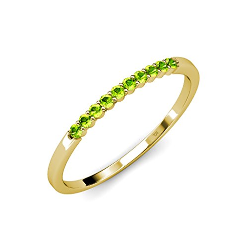 Peridot 10 Stone Wedding Band 0.25 ct tw in 14K Yellow Gold.size (0.25 Ct Peridot Ring)