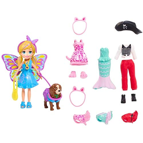 Polly Pocket Playset 2019-2020 Fashion Collection   Costume Party Themed Fashions and Accessories   Pirate Mermaid Fairy Clothes and Bag   Includes 3-inch Polly Doll (Polly Pirates)