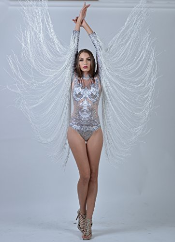 918454dbace Charismatico White Crystallized Fringe Dance Drag Queen Leotard with  ArmTassels US0-US6
