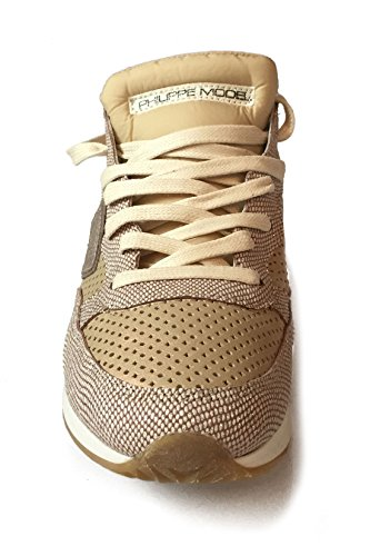 Philippe Model Damen Sneaker low Tropez Vip aus Leder und Textil in Gold / Glitzer