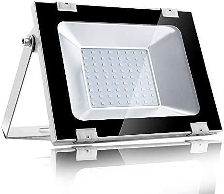 50w Foco led exterior,Led Proyector para Exterior Iluminación Decoración alto brillo 5000LM IP 65 ,6000K blanco fío,luz led para Jardín, Garaje, ...
