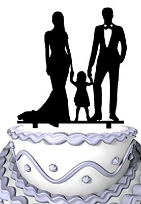 Meijiafei Bride and Groom Hold Little Girl Together Family Anniversary Cake Topper