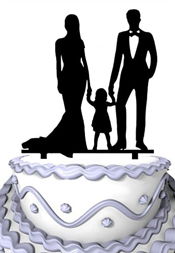 Meijiafei Bride and Groom Hold Little Girl Together Family Anniversary Cake Topper by Meijiafei