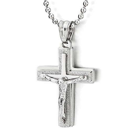 Tri layer Christ Crucifix Pendant Necklace