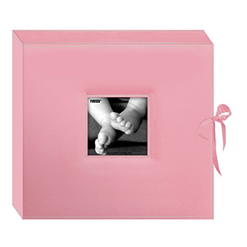 Pioneer 12 Inch by 12 Inch D-Ring Sewn Leatherette Scrapbook Box, Baby Pink