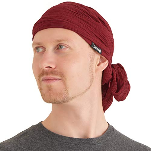 CHARM Pirate Hat Head Scarf - Turban Bandana Cap Boho Scarf Chic Womens Mens Adult Pirate Costume Casualbox Dark Red