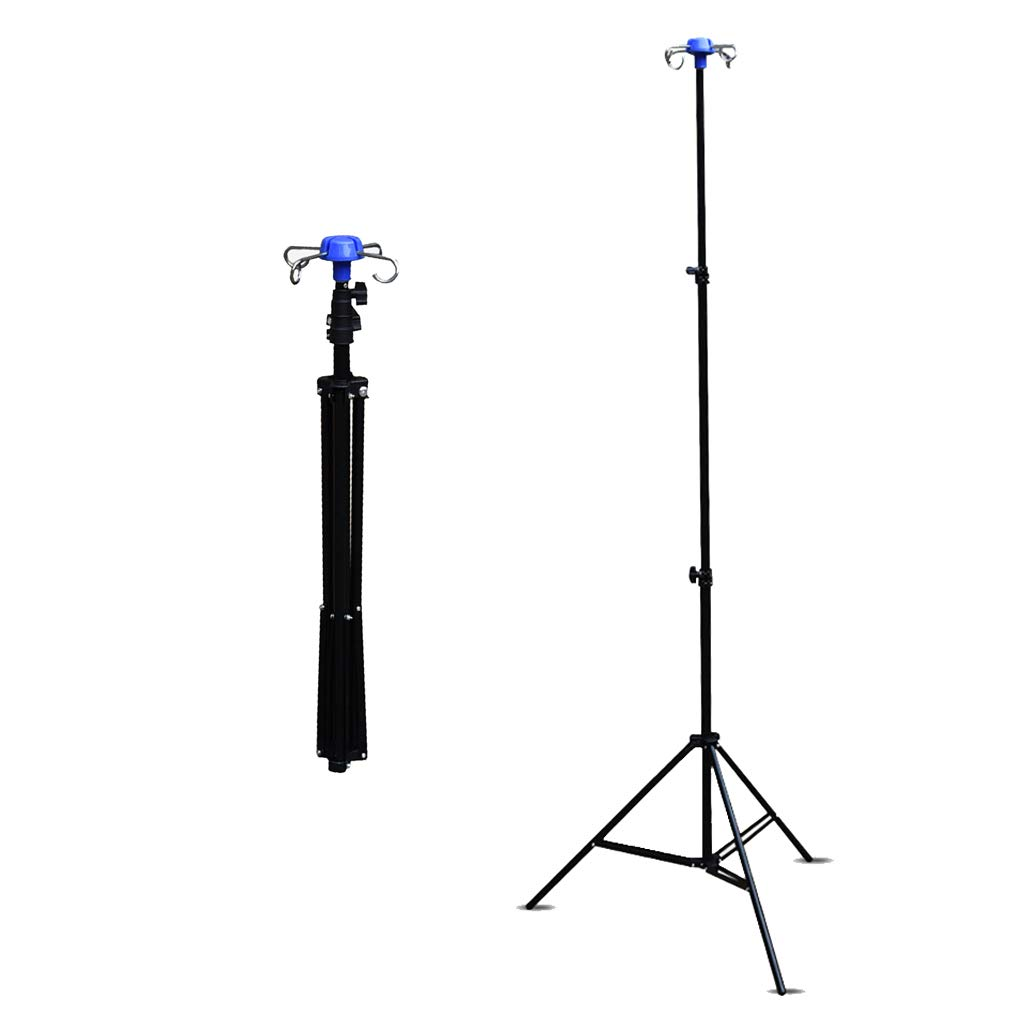 YJI Portable Collapsible IV Pole Stand, 4 Hook 3 Leg with Adjustable Height Display Stand Rack, Aluminum Alloy, 44 Lbs Load Capacity