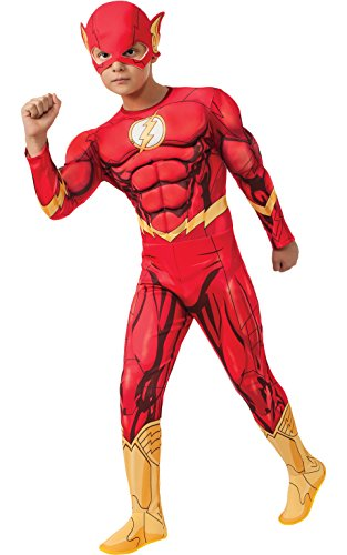 Speedy Dc Costume (Rubies DC Comics Deluxe Muscle-Chest The Flash Costume, Child Large)