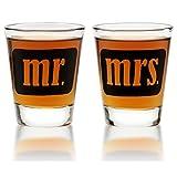 Mr. & Mrs. Shot Glasses - For Couples - Engagement, Wedding, Anniversary, House Warming, Hostess Gift - 1.75 oz