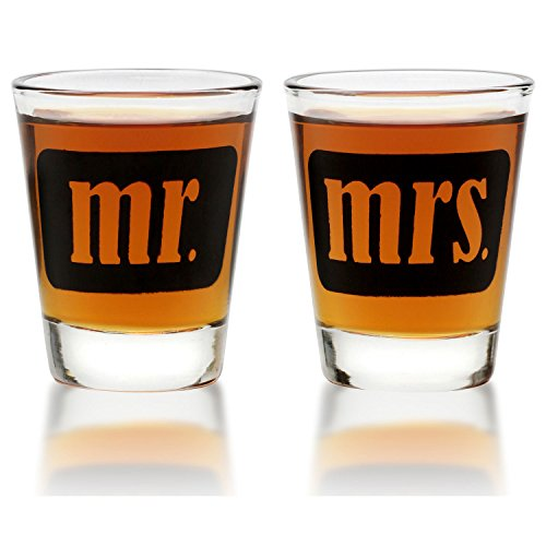 Mr. & Mrs. Shot Glasses - For Couples - Engagement, Wedding, Anniversary, House Warming, Hostess Gift - 1.75 ounce]()