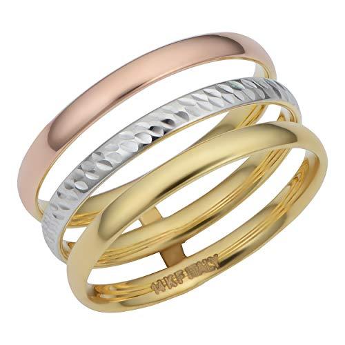 (Kooljewelry 14k Tricolor Gold 10 mm Diamond-cut Triple Band Ring (size 7) )