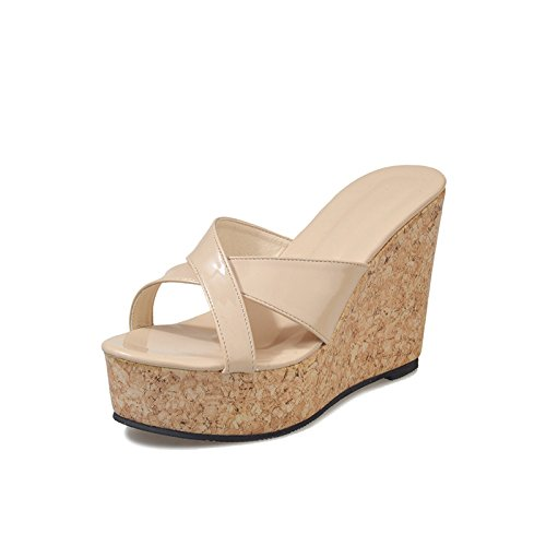 pure slope Thick and sole heel high Dony sandals five bottom heels high slippers color Thirty sandals thick T1xc4Un