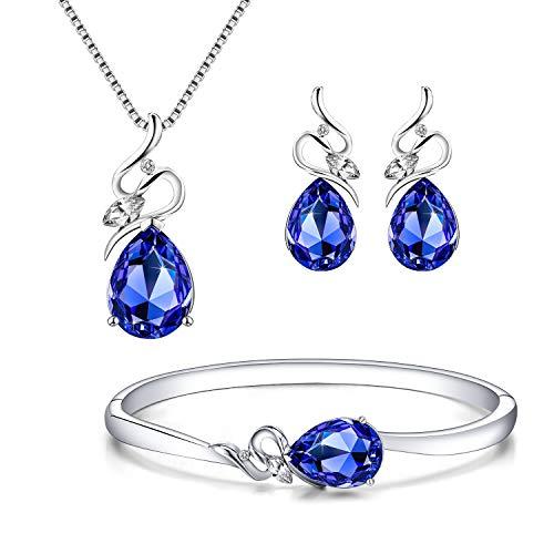 Menton Ezil Angel Eyes Swarovski Necklace Earrings Tennis Bracelet 18K White Gold Plated Wedding Jewelry Set - Gifts for Her