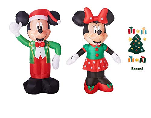 Mickey Mouse and Minnie Mouse Airblown Disney Christmas Inflatable LED 5ft + Decoration Window Clings
