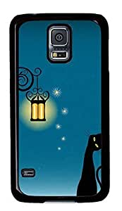 Case Shell for Samsung Galaxy S5 Covered with Black Cat Under A Light,Customized Black Hard Plastic Cover Skin for Samsung Galaxy S5 I9600 hjbrhga1544
