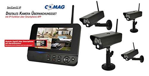 COMAG Digitales Kamera Funk-Überwachungs-Set Überwachungskamera Videoüberwachung mit IP Funktion über Smartphone App (inkl. 7 Zoll TFT Monitor + 4 Stk. Kameras, kabellos, Nachtsicht (Infrarotkamera), erweiterbar bis zu 4 Kameras, bis zu 300 m, Aufnahmefunktion, SD-Kartenslot bis 32GB, USB 2.0 für externe Festplatte bis 1TB)