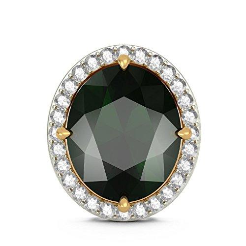 Or jaune 18K 0,34CT TW White-diamond (IJ | SI) et tourmaline verte Boucles d'oreille à tige