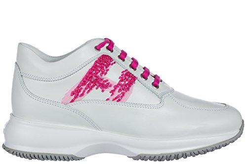 Hogan scarpe sneakers donna in pelle nuove interactive bianco