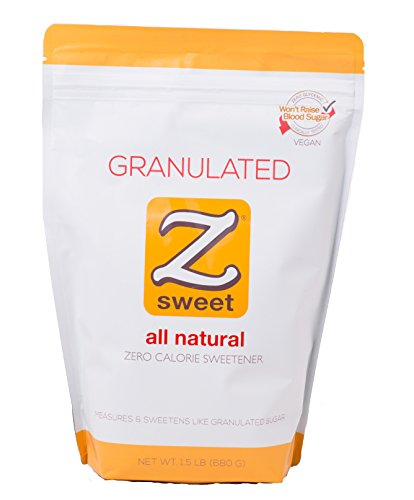 Zsweet All Natural Zero Calorie Sweetener – Non-GMO, Gluten-Free, No Glycemic Impact Erythritol Sugar Alternative – Perfect For Diabetic, Keto, Atkins, Paleo, and Low-Carb Diets (Granulated)