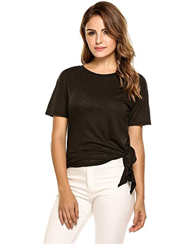Esqlotre Women's Summer Casual Short Sleeve Tie Front Asymmetrical Top (Side Tie Tunic)