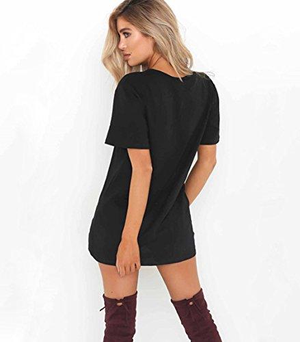 ISSHE T Shirt Kleid Langes Oversize V Ausschnitt Kurzarm Lange T Shirts  Damen Long T- ... cc231e091c