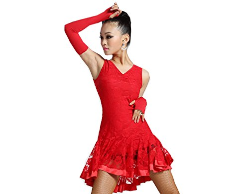 Latin Dance Dress New Style Sleeveless Dance Practice Costume Adult Performance Clothes Square Dance Wear Red (Dance Costumes Performance Wear)