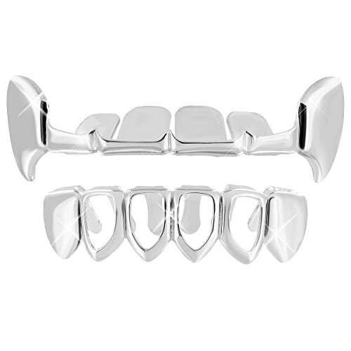 [Upper Teeth Fangs Grillz 14k White Gold Plate Bottom Tooth Caps Halloween Sale] (Celebrity Halloween Costumes For Sale)