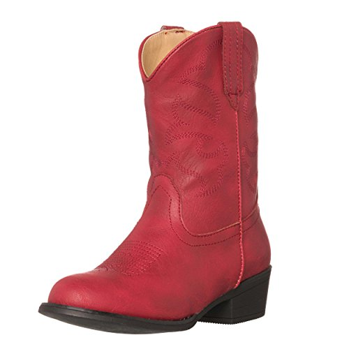Children Western Kids Cowboy Boot,Red,7 M US Toddler