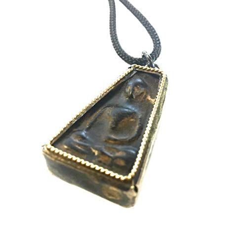 Vintage Circa Sitting Buddha Necklace - Handcrafted Pendant Jewelry from Thailand - Thai Chakra Dharmachakra Medallion - Good Luck Protection Healing - Zen Boho Bohemian - Men & Women (Onyx Black) - Gold Buddhist Statues