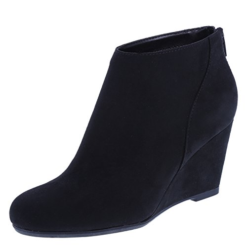 Fioni Womens Black Suede Womens Missy Wedge Boot 13 Wide