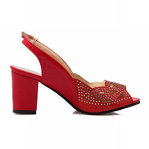 Carolbar Hebilla Para Mujer Lentejuelas Lentejuelas Peep Toe Slingback Nupcial Grueso Tacón Medio Vestido Sandalias Rojo