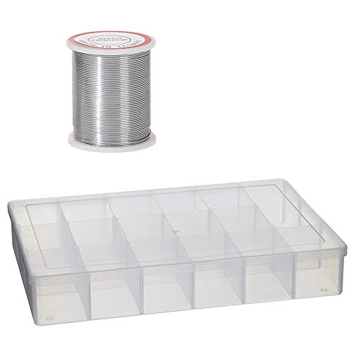 Bead Kit Darice Silver - Darice 10762 Plastic Bead Organizer with 17 Compartments, Clear with Darice 28-Gauge Beading Wire, 40-Yard, Silver