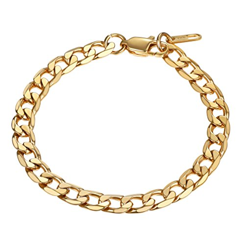PROSTEEL Gold Bracelets 18K Plated Hip Hop Men Women Jewelry Gifts Stainless Steel Stacking Layering Curb Chain Cuban Link Bracelet (Men Gold Jewelry Bracelet)