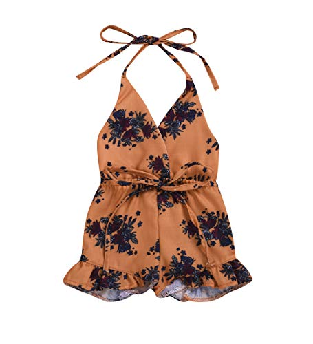 MA&BABY Baby Girls Halter One-Pieces Romper Jumpsuit Sunsuit Outfit Clothes 0-24M (0-6 Months, Brown)