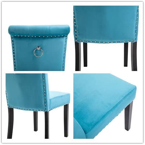 MISLD Lot de 2 chaises de salle à manger en velours avec anneau de surpiqûre et dossier rembourré pour salle à manger, pieds en bois 51 x 49 x 91 cm Bleu clair