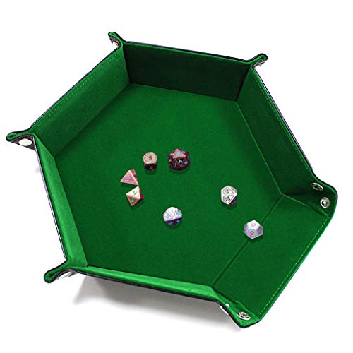 Flurries  Hexagon Foldable Dice Tray - Portable Folding Dice Rolling Tray - Dice Holder Box - Dice Game Stronger - Leather Storage Tray - Office Home Desktop Jewelry Keys Pencil Organizer (Green)