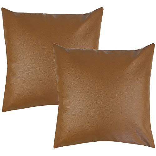 Woven Nook Decorative Throw Pillow Covers ONLY for Couch, Sofa, or Bed Set of 2 18 x 18 inch Modern Quality Design 100% Faux Leather Milo (Cushion Leather Covers)