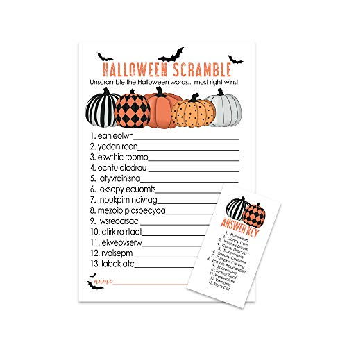 Clever Halloween Words (Bewitched Halloween Party Games Word Scramble (25 Pack) Pumpkin Baby Shower Kids Parties Fall)