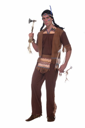 Forum Novelties Native American Brave Costume, Brown, Standard (Indian Mens Costume)