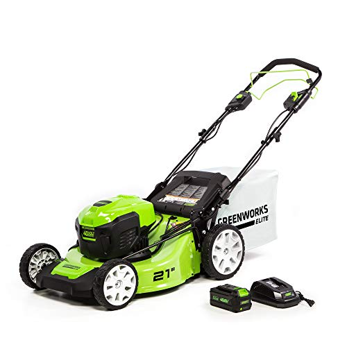 Greenworks 21-Inch 40V Brushless Self-Propelled Mower 6AH Battery and Charger Included, M-210-SP (Best Self Propelled Cordless Electric Lawn Mower)