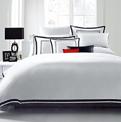 Hotel Luxury 3pc Duvet Cover Set-SALE TODAY ONLY! #1 Rated On Amazon! Elegant White/Black Trim Hotel Quality Design-Silky Soft- 100% MONEY BACK GUARANTEE!! Wrinkle & Fade Resistant Bedding..ALL SIZES