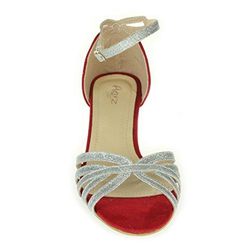 Mujer Señoras Noche Boda Fiesta baile Casual Punta abierta Envoltura de tobillo Tacón de gatito Sandalias Zapatos tamaño Plata