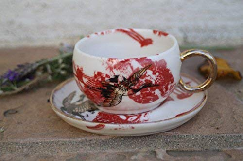Red White Gold Espresso Cup and Saucer with Cranes, handmade small pottery mug