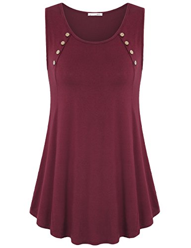 Tank Tops, Women Sleeveless Buttons Round Neck Pleated Front A Line Solid Flowy Tunic Shirts(Large,Wine) (Sleeveless Button Front Jersey)