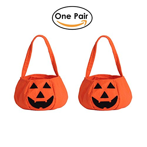 Trick Or Treat Pumpkins (FUNOVE Halloween Trick or Treat Pumpkin Candy Tote Hand Bags for Kids or Costume Party(Pack of a Pair))