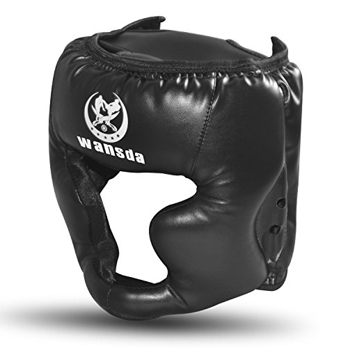 Boxing Headgear, Synthetic Leather MMA Headgear, UFC Fighting Head Guard Sparring Helmet by Sanjoin, Black -