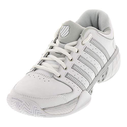 73e1756a1b K-Swiss Hypercourt Express Leather Womens Tennis Shoe (7.5, White/Silver/
